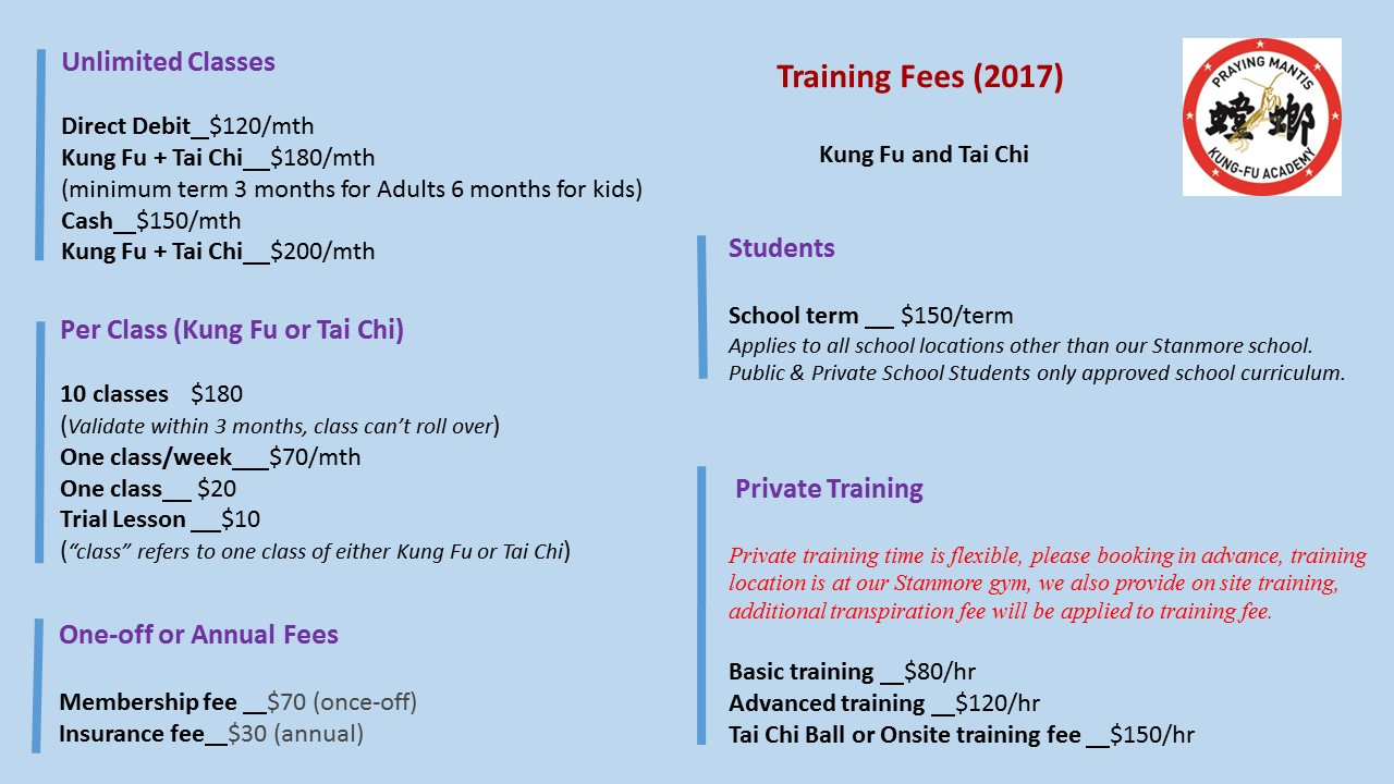 training fee 2017